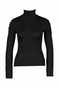 Womens Roll Neck Top With Feature Sleeve - Black - 12, Black