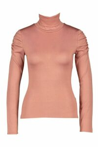 Womens Roll Neck Top With Feature Sleeve - Pink - 14, Pink