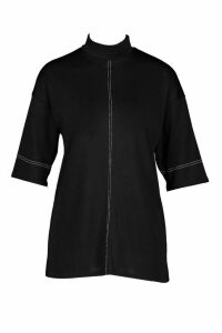 Womens roll/polo neck Top With Contrast Stitching - black - 14, Black
