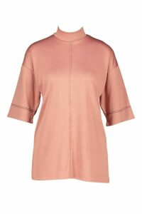 Womens roll/polo neck Top With Contrast Stitching - pink - 12, Pink