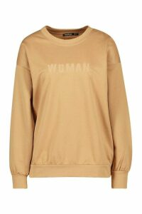 Womens Woman Embroidered Oversized jumper - beige - 14, Beige