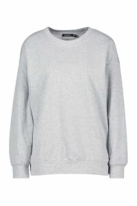 Womens Woman Embroidered Oversized Jumper - Grey - 14, Grey