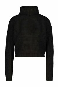 Womens Cropped Fisherman Roll Neck Jumper - black - M, Black