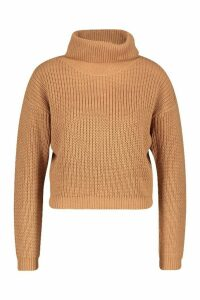 Womens Cropped Fisherman Roll Neck Jumper - Beige - L, Beige