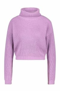 Womens Cropped Fisherman Roll Neck Jumper - purple - M, Purple