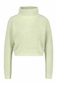 Womens Cropped Fisherman Roll Neck Jumper - green - L, Green