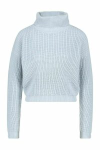 Womens Cropped Fisherman Roll Neck Jumper - blue - M, Blue