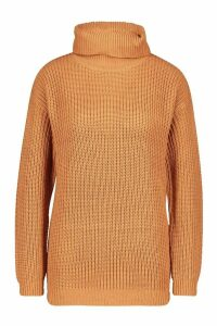 Womens Fisherman Roll Neck Jumper - Beige - M, Beige