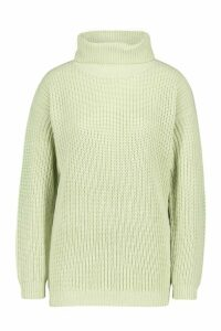 Womens Fisherman Roll Neck Jumper - green - M, Green