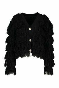 Womens Tassel Fringed Cardigan - black - L, Black