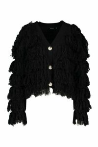 Womens Tassel Fringed Cardigan - black - M, Black