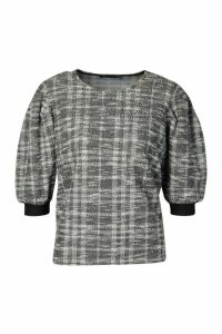 Womens Jaquard Boucle Top - grey - 12, Grey