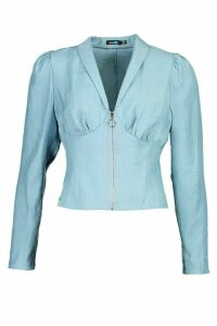 Womens Zip Front Corset Detail Shimmer Blouse - Blue - 14, Blue