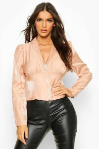 Womens Zip Front Corset Detail Shimmer Blouse - Pink - 14, Pink