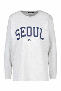 Womens Seoul Slogan Print Long Sleeve T-Shirt - Grey - M, Grey