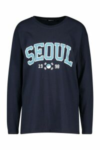 Womens Seoul Slogan Print Long Sleeve T-Shirt - navy - M, Navy
