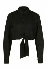 Womens Long Sleeve Collared Tie Up Front Shirt - black - 14, Black
