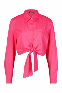 Womens Long Sleeve Collared Tie Up Front Shirt - Pink - 14, Pink