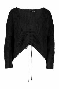 Womens Ruched Tie Front Jumper - black - M, Black