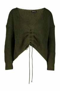 Womens Ruched Tie Front Jumper - green - L, Green