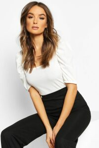 Womens Square Neck Puff Sleeve Rib Top - white - 8, White