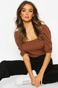 Womens Square Neck Puff Sleeve Rib Top - Brown - 8, Brown