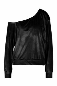 Womens Velour Oversized Sweat Top - Black - 10, Black