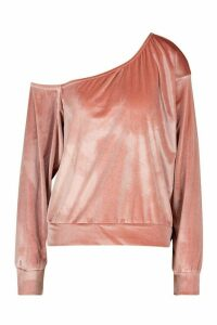 Womens Velour Oversized Sweat Top - Pink - 14, Pink