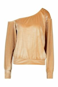 Womens Velour Oversized Sweat Top - beige - 16, Beige