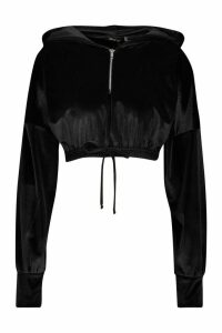 Womens Velour Zip Front Crop Hoodie - black - 16, Black