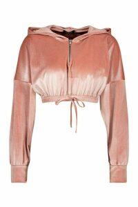 Womens Velour Zip Front Crop Hoodie - Pink - 14, Pink
