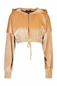 Womens Velour Zip Front Crop Hoodie - beige - 14, Beige