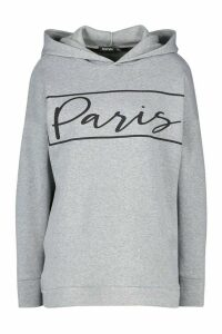 Womens Paris Slogan Oversized Sweat Hoodie - grey - 8, Grey