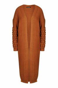 Womens Bobble Knit Maxi Cardigan - beige - S/M, Beige