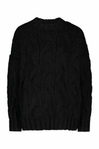 Womens Premium Large Cable Knit jumper - black - ONE SIZE, Black