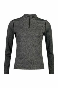 Womens Fit Long Sleeve Zip Up Gym Top - grey - 12, Grey