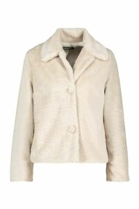 Womens Faux Fur Button Coat - white - 8, White
