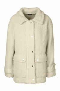 Womens Pocket Detail Teddy Faux Fur Trucker Jacket - white - 16, White