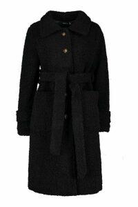 Womens Longline Teddy Belted Coat - black - 16, Black