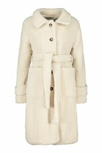 Womens Longline Teddy Belted Coat - white - 8, White