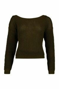 Womens Tall Slash Neck Crop Jumper - Green - L, Green