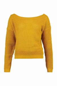 Womens Tall Slash Neck Crop Jumper - yellow - L, Yellow