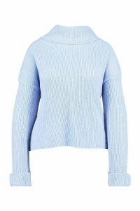 Womens Plus Rib Knit Wide Sleeve Turn Up Cuff Jumper - Blue - 16, Blue