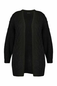 Womens Plus Chunky Edge to Edge Cable Rib Cardigan - black - 16, Black