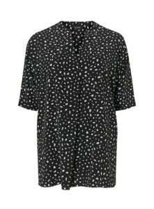 Black Polka Dot Print Shirt, Black