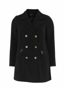 Black Double Breasted Coat, Black