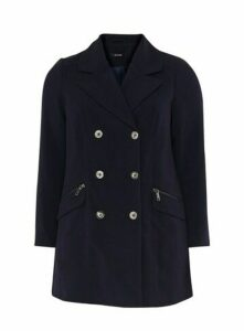 Navy Blue Double Breasted Coat, Navy
