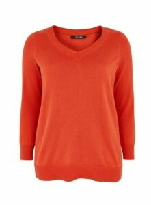 Orange V-Neck Jumper, Orange