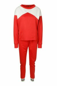 Womens Contrast Tracksuit - red - 14, Red
