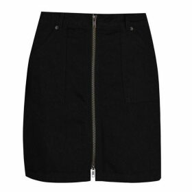 Jack Wills Chartham Full Zip Denim Skirt - Black